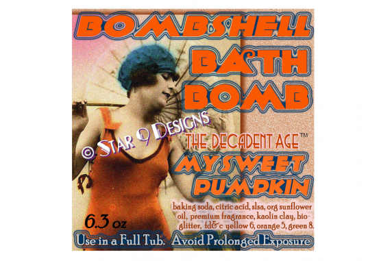 star 9 designs vintage bath bomb label